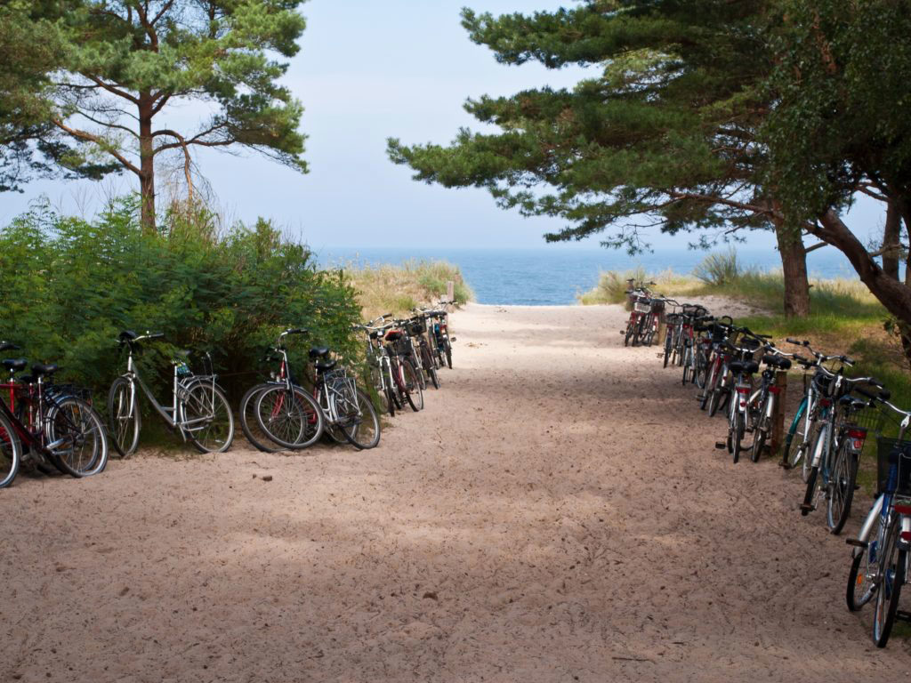 Fahrradparken am Strand